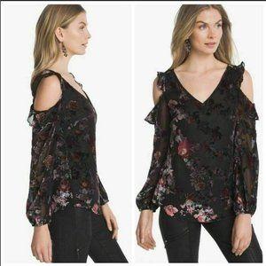 WHBM Floral Velvet Burnout Cold Shoulder Top